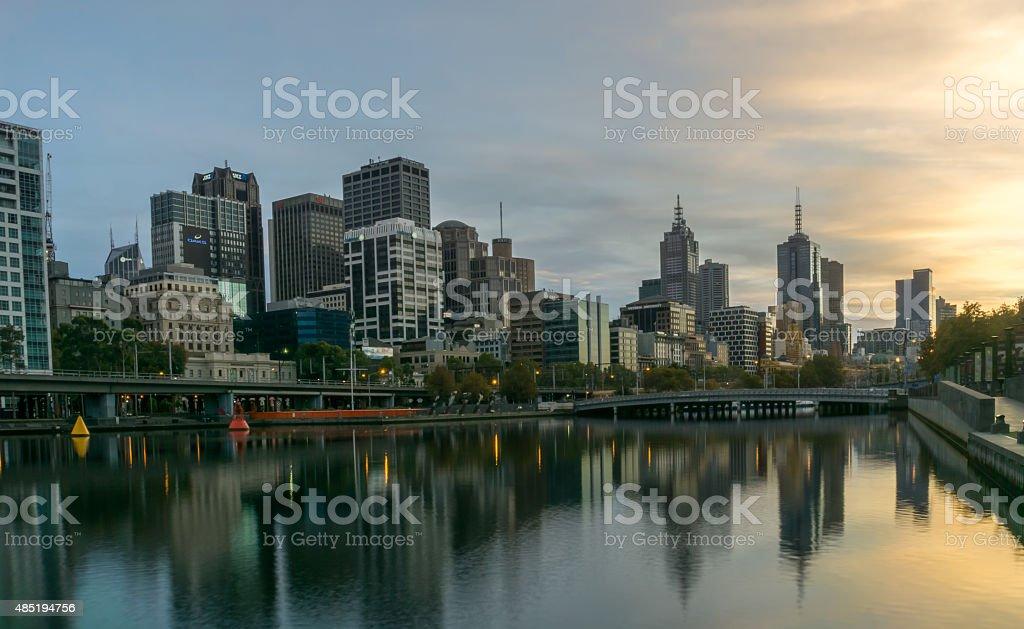 Melbourne Southbank Sunrise stock photo