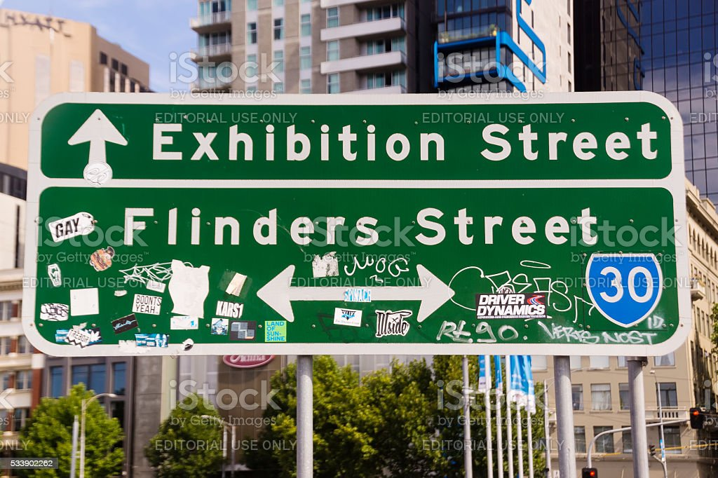 Melbourne Street Sign stock photo