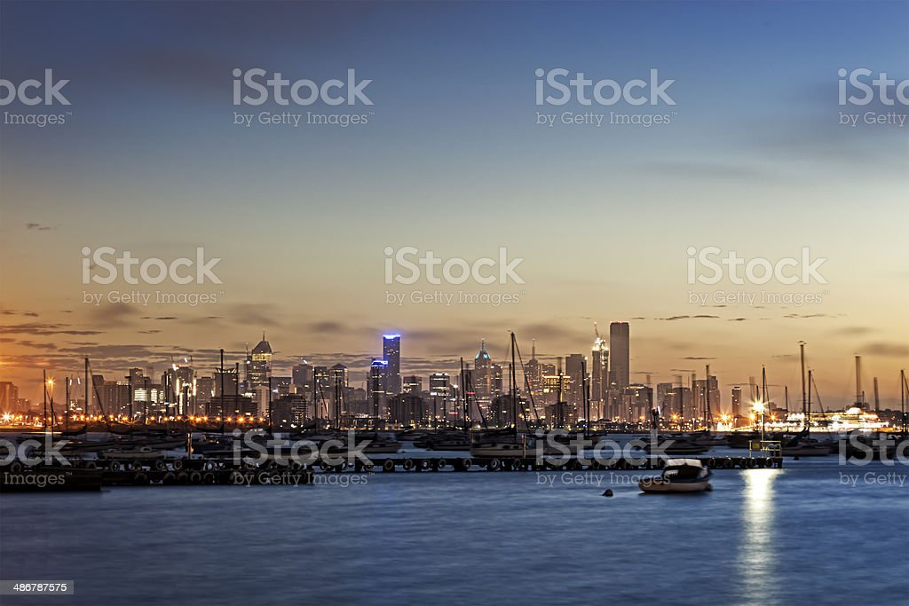 Melbourne Sunrise from Williamstown stock photo