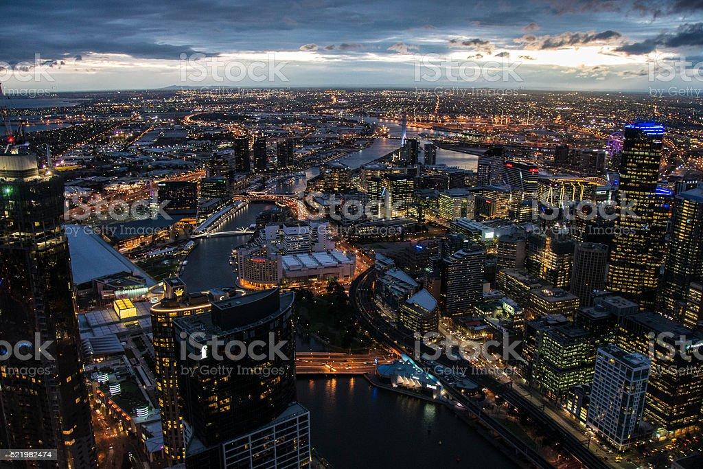 Melbourne sunset, Eureka Tower stock photo