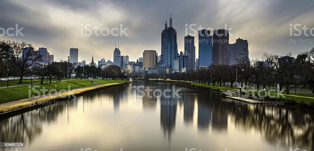 Melbourne Sunset on the Yarra stock photo