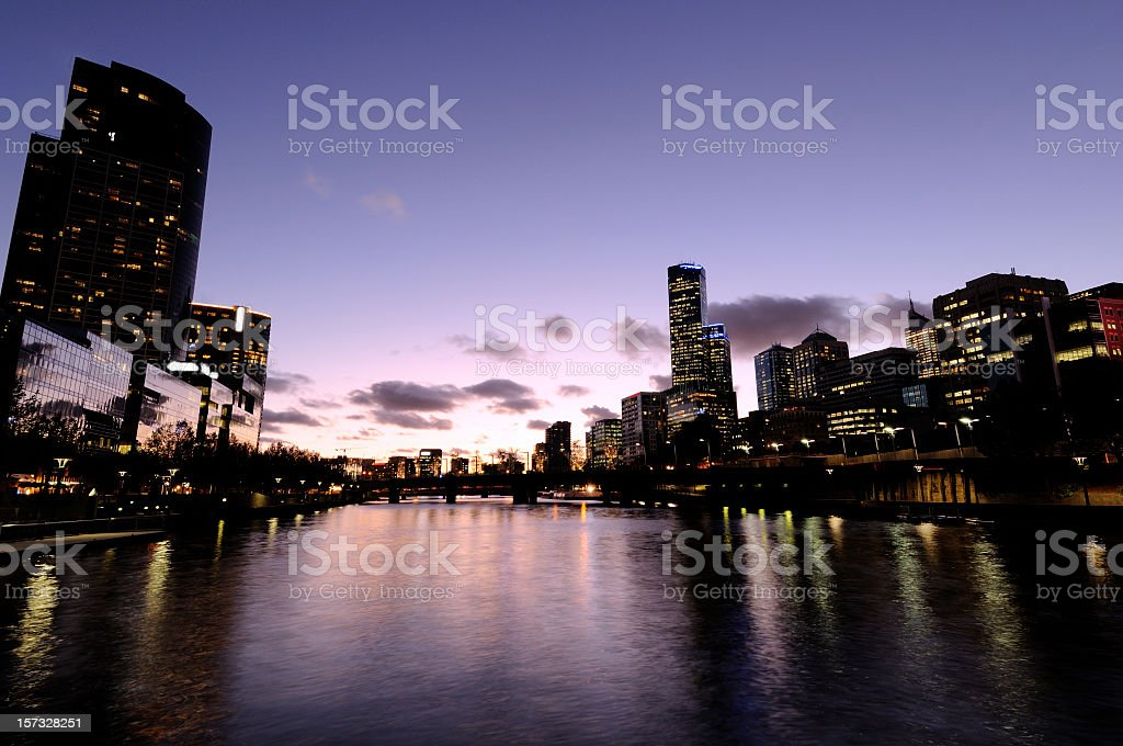 Melbourne Sunset over the Yarra River royalty-free stock photo