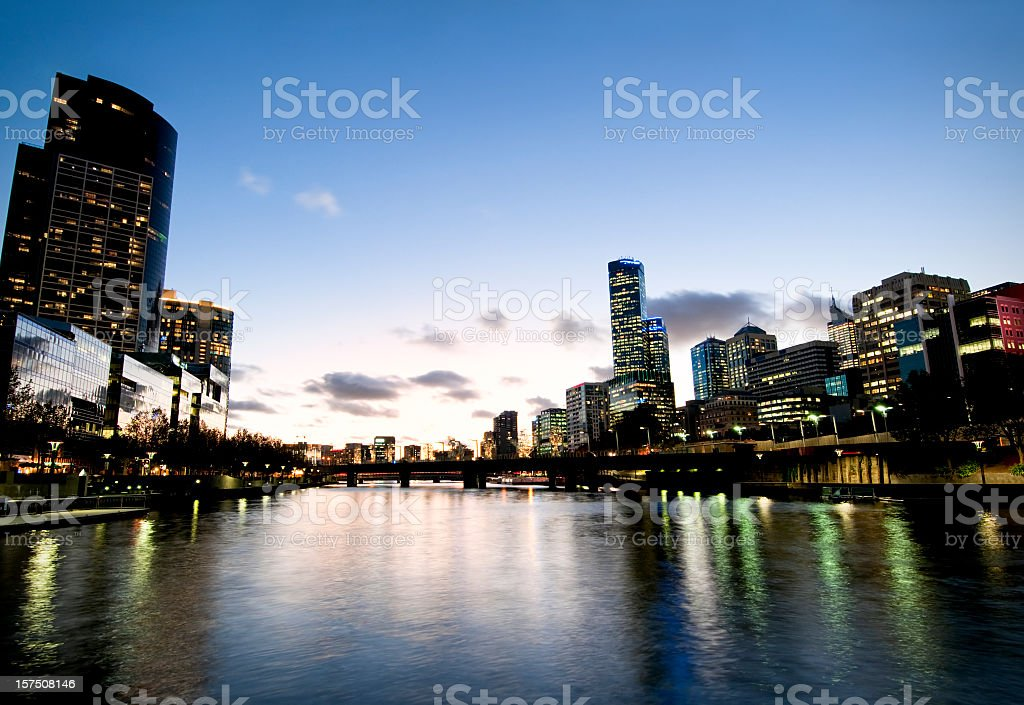 Melbourne Sunset over the Yarra River stock photo