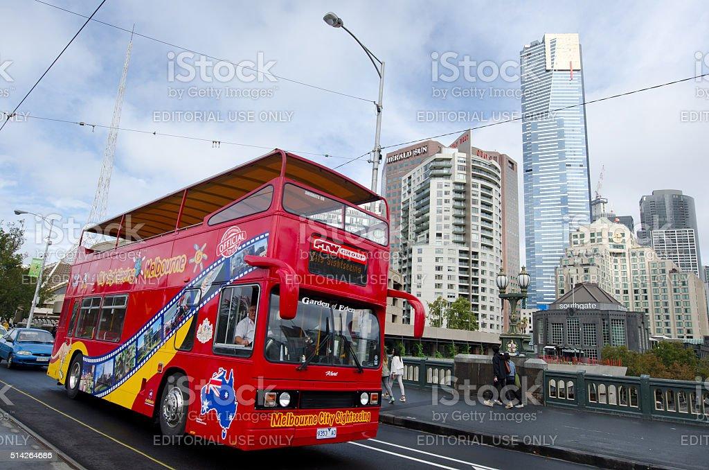 Melbourne tour bus stock photo
