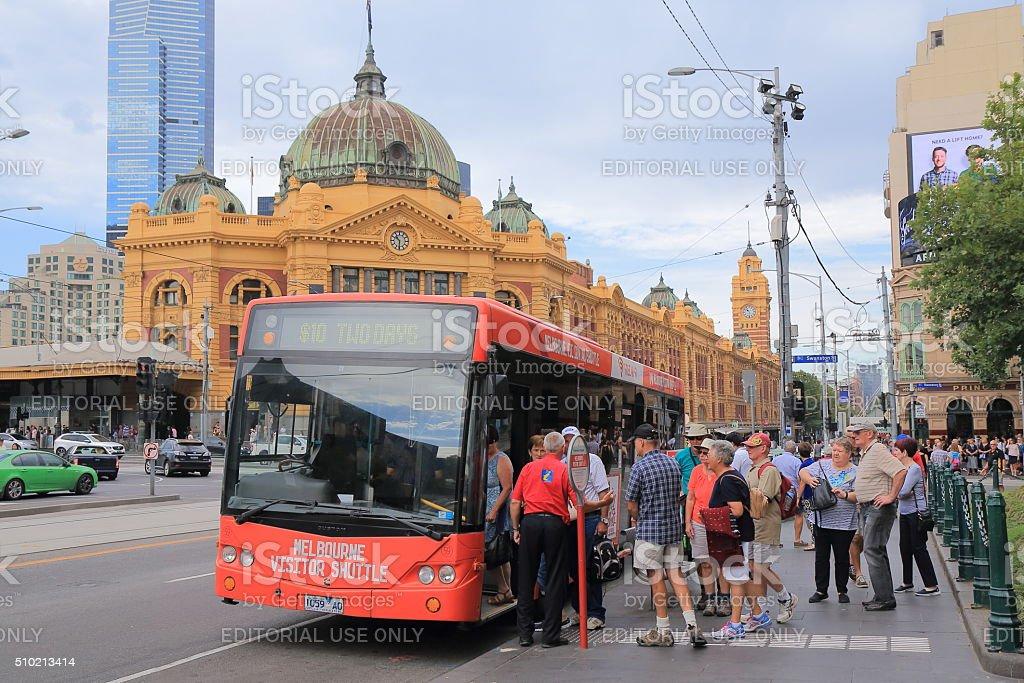 Melbourne tourist bus Australia stock photo