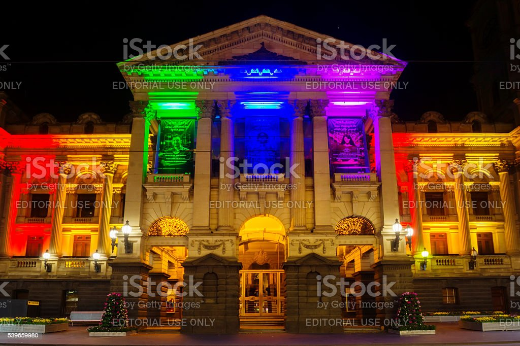 Melbourne Town Hall, lit in rainbow colours stock photo