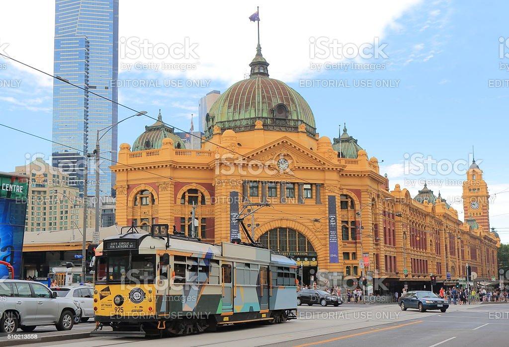 Melbourne tram Flinders Street Station Australia stock photo