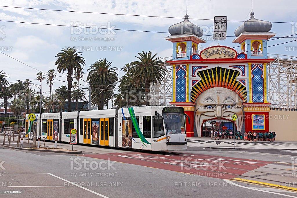 Melbourne tram passing Luna Park royalty-free stock photo