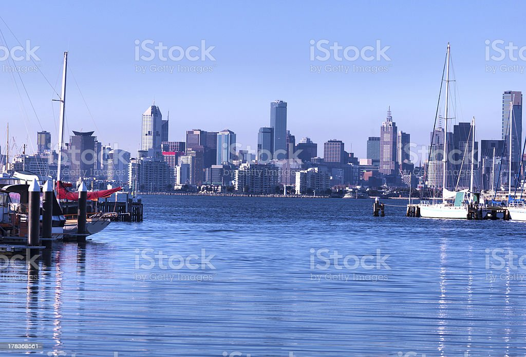 Melbourne Viewed from Williamstown stock photo