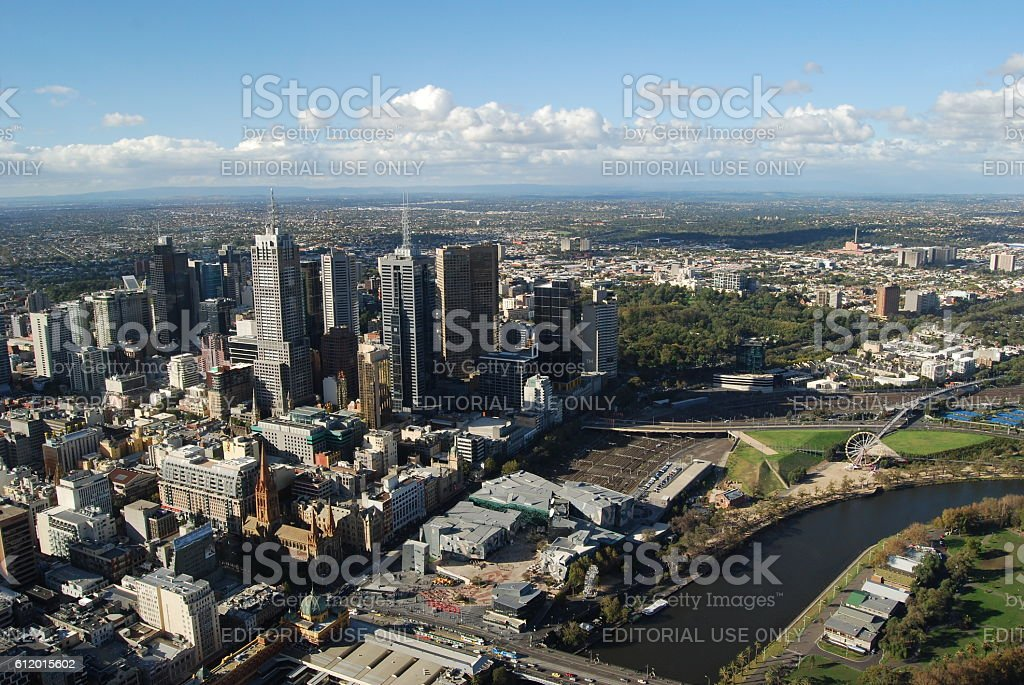 Melbourne with CBD and the Yarra River stock photo