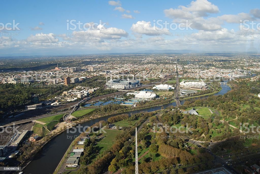 Melbourne with Sports Stadiums on a cloudy day stock photo