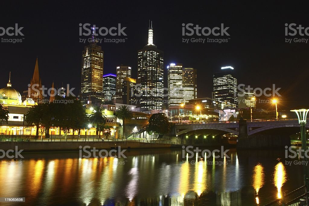 Melbourne Yarra River Nights Sykline royalty-free stock photo