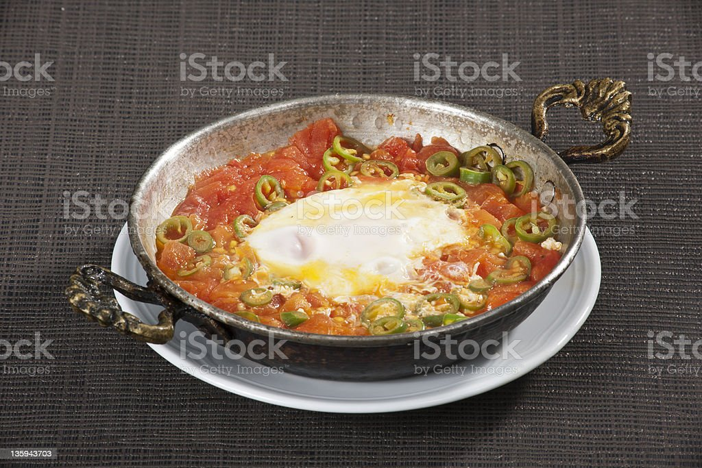 melemen ,eggs with tomatoes and hot peppers royalty-free stock photo