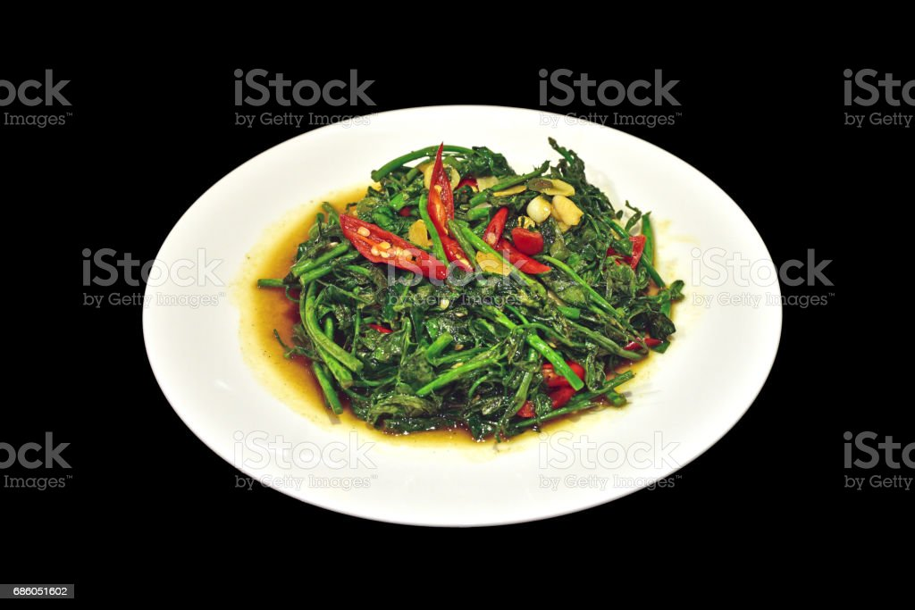 melientha suavis pierre vegetables fried with oyster sauce stock photo