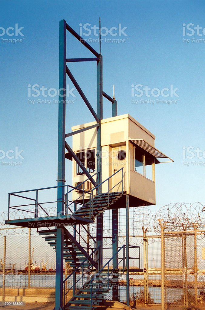 Melilla, Spain: border watch tower, Europe' s external border stock photo
