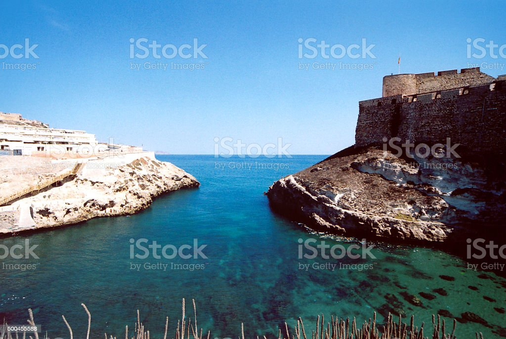 Melilla, Spanish North Africa: Galápagos cove and the citadel stock photo