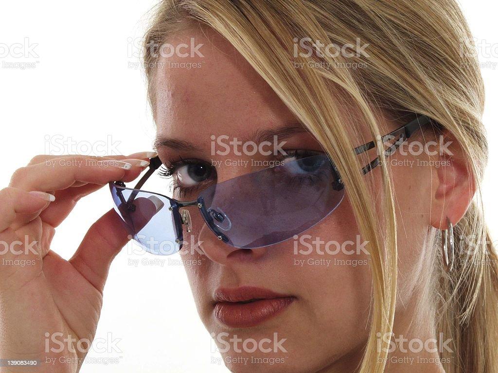 Melina with blue eyeglases 2 royalty-free stock photo
