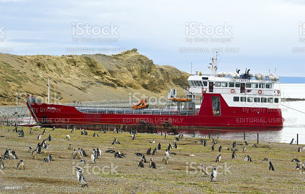 Melinka ferry at the Magdalena island, Magellan Strite, Chile stock photo