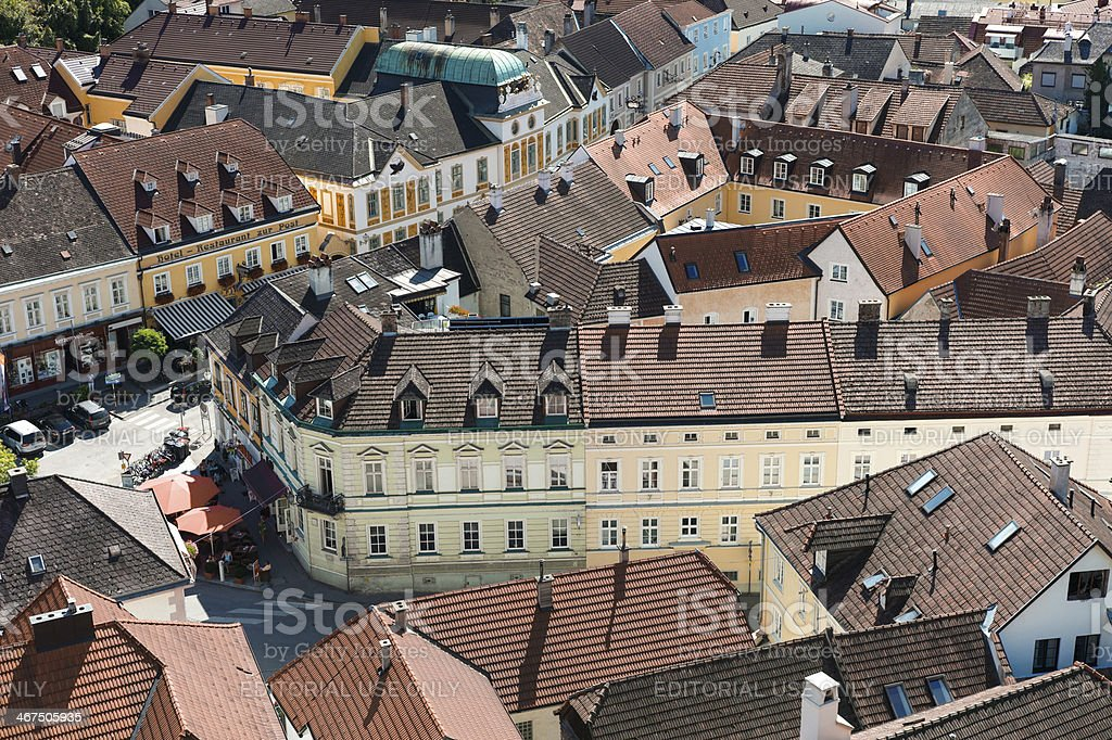 melk city view from Stift Abbey at austria stock photo