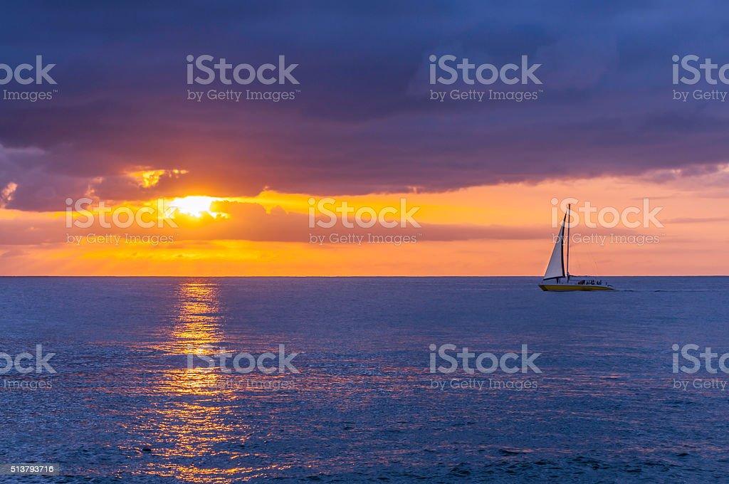 Mellow Sunset Cruising stock photo