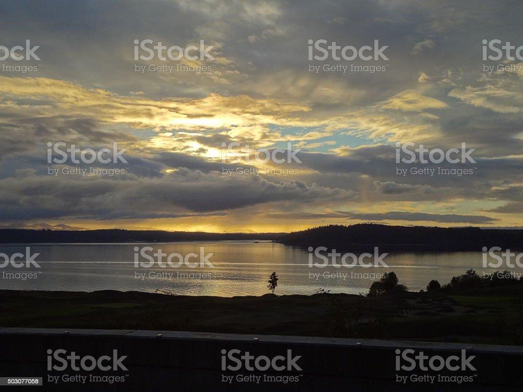 Mellow Yellow Evening Sky stock photo