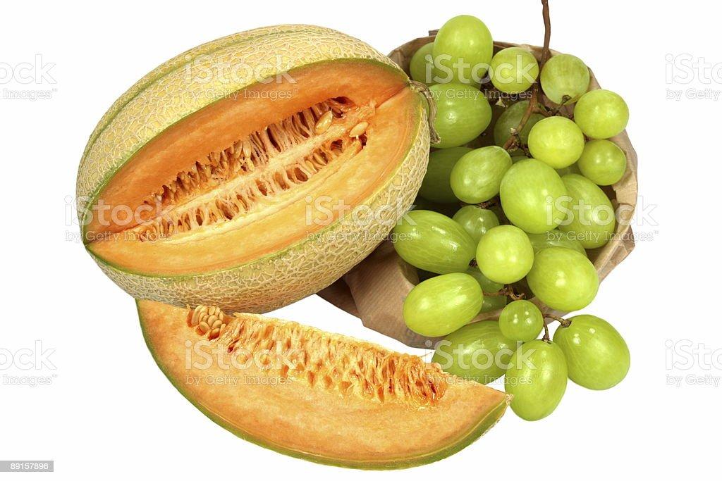 Melon and Grapes royalty-free stock photo