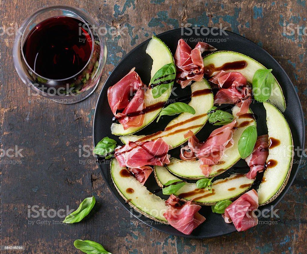Melon and ham stock photo