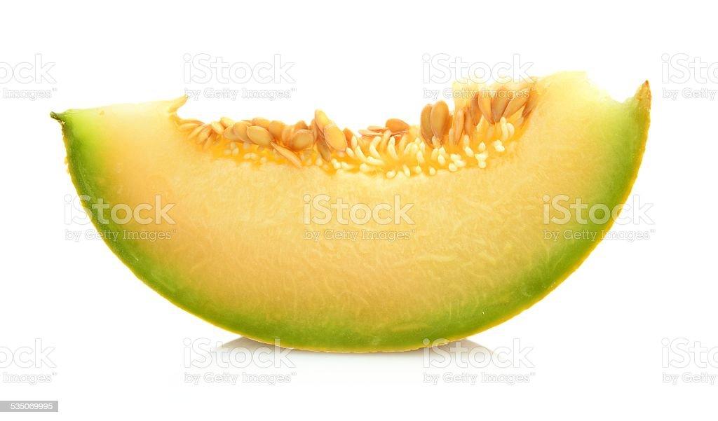 Melon galia slice, piece isolated white in studio stock photo