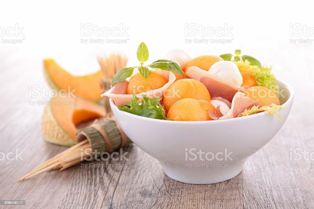 melon, ham and mozzarella stock photo