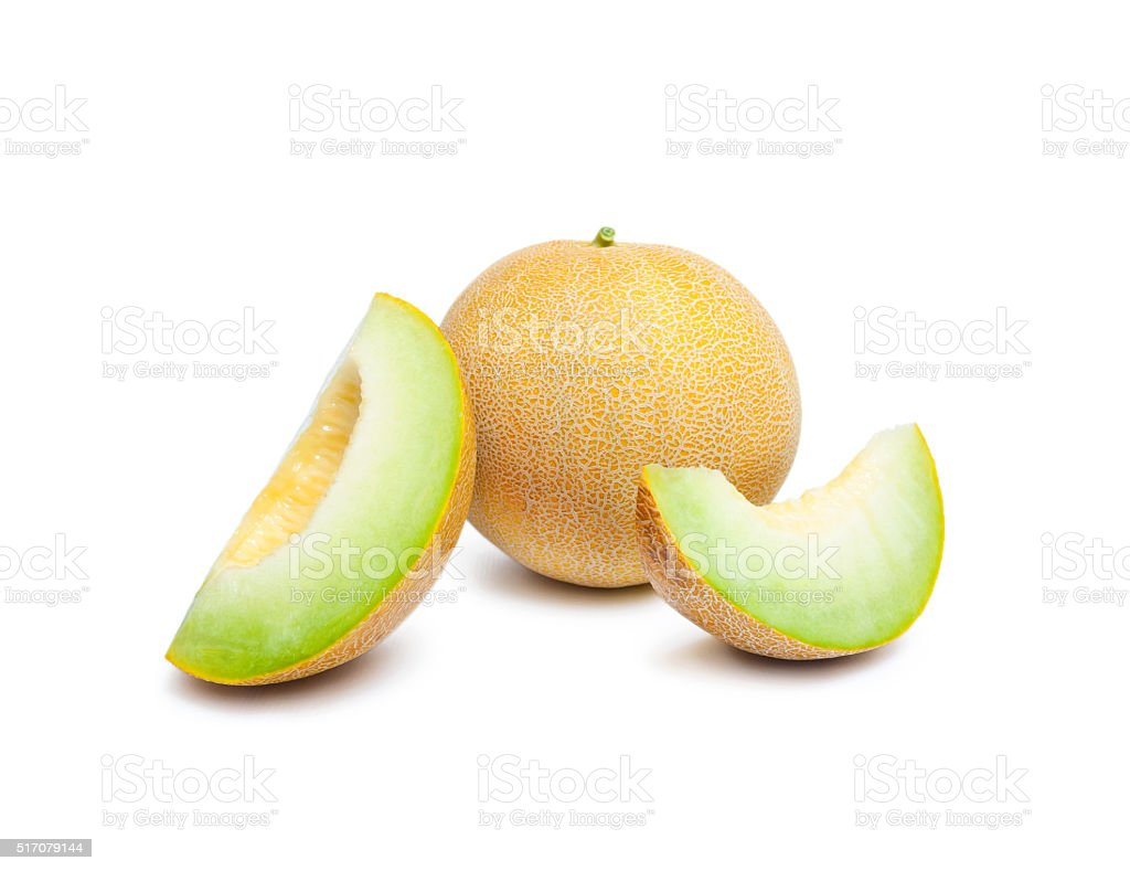 Melon honeydew and two melon slices stock photo