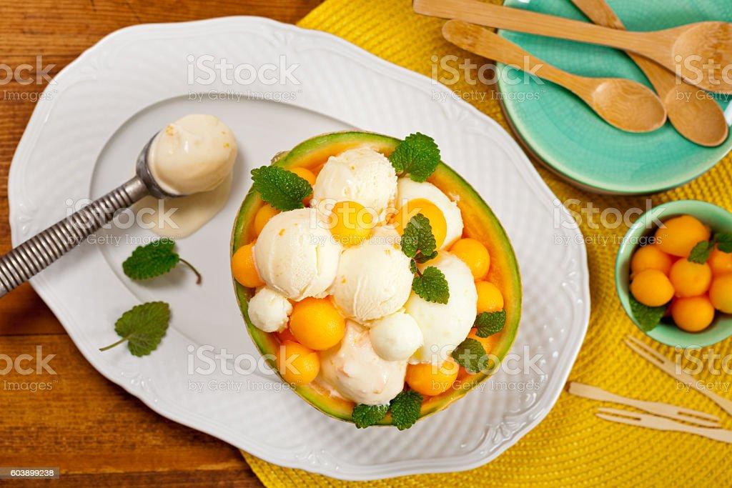 Melon Ice Cream stock photo