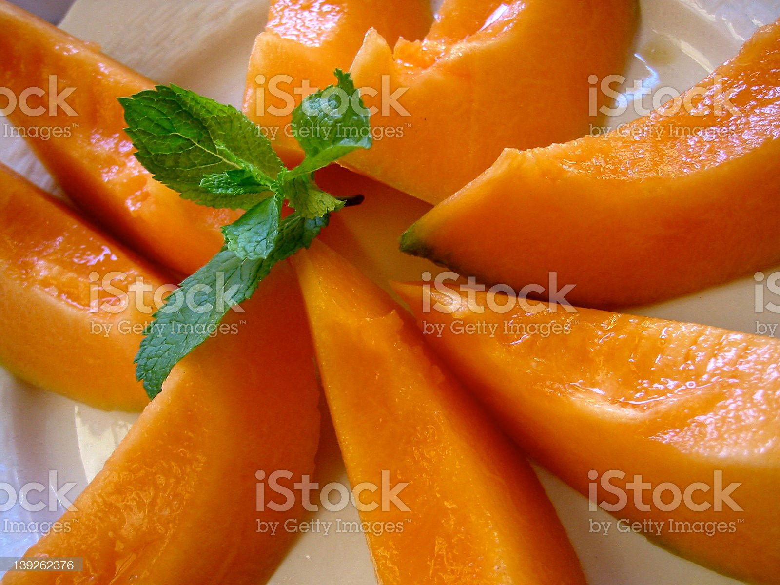 A Melon with Mint royalty-free stock photo