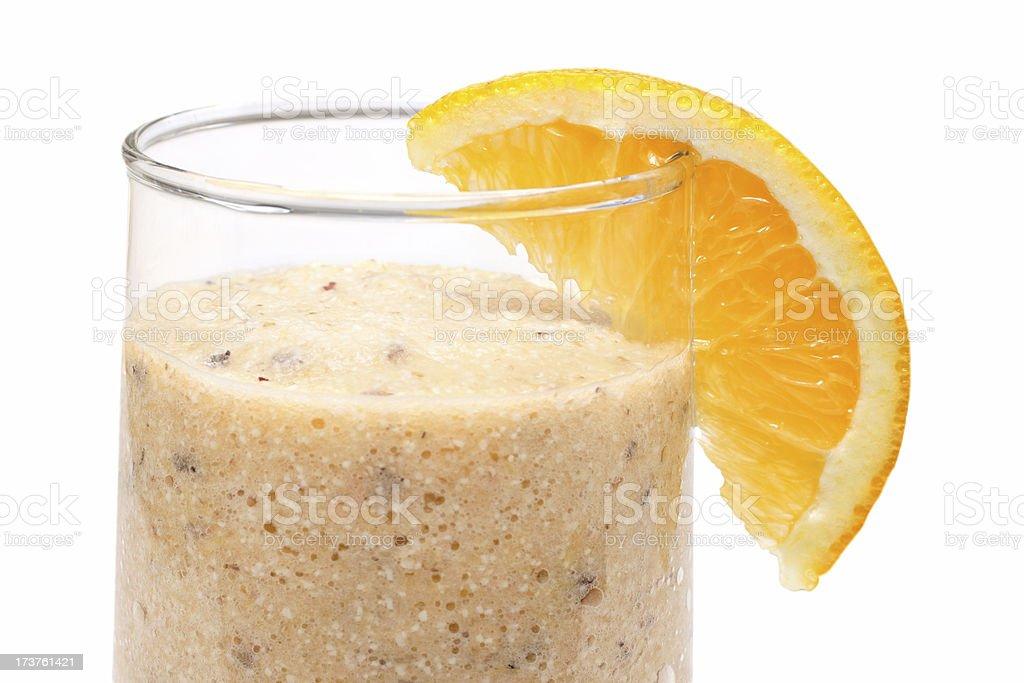 melon-orange smoothie close up stock photo