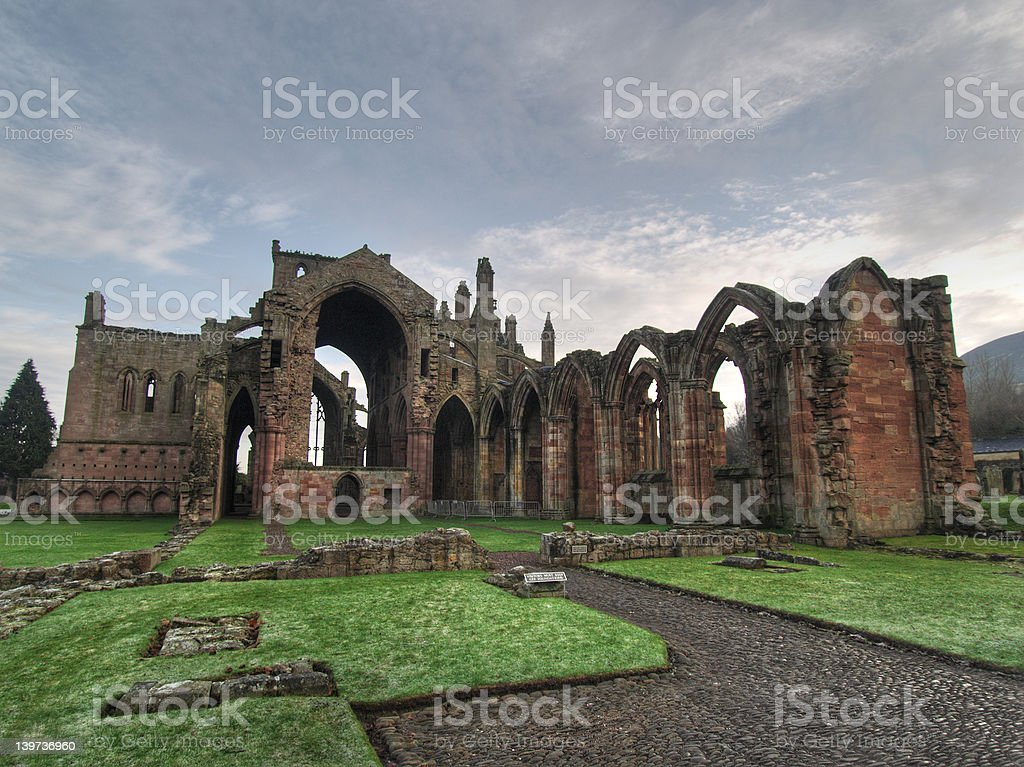 Melrose Abbey Ruins Front and Side royalty-free stock photo