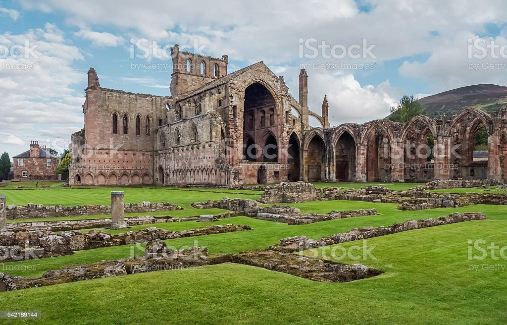 Melrose Abbey, Scotland stock photo