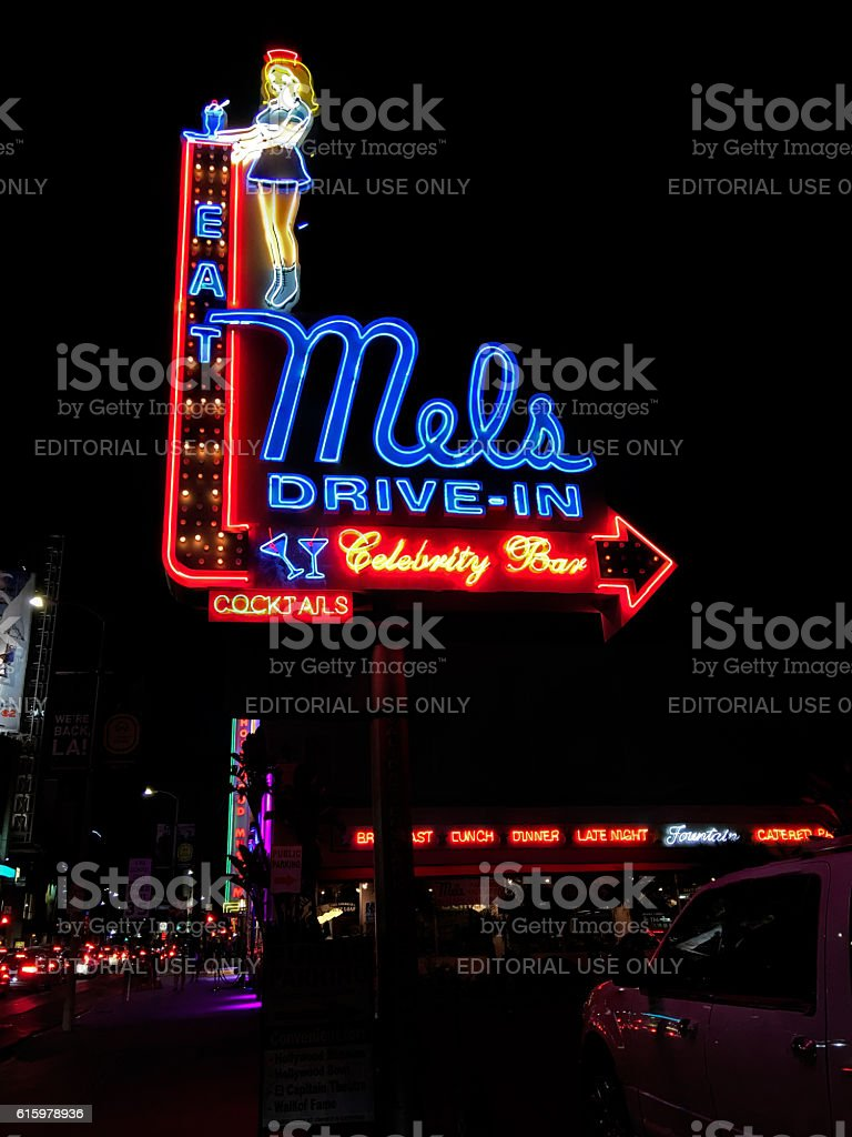 Mels Drive-In neon sign at night in Hollywood, California stock photo