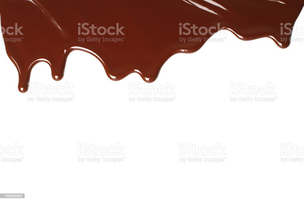 Melted brown chocolate on a white background royalty-free stock photo