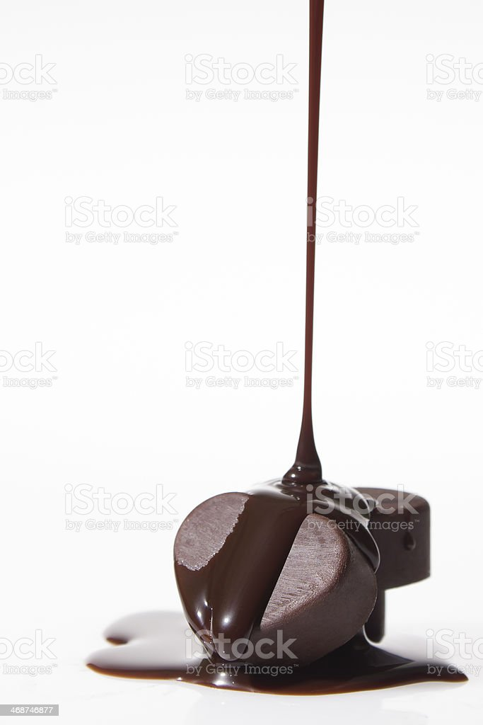 Melted heart chocolate stock photo