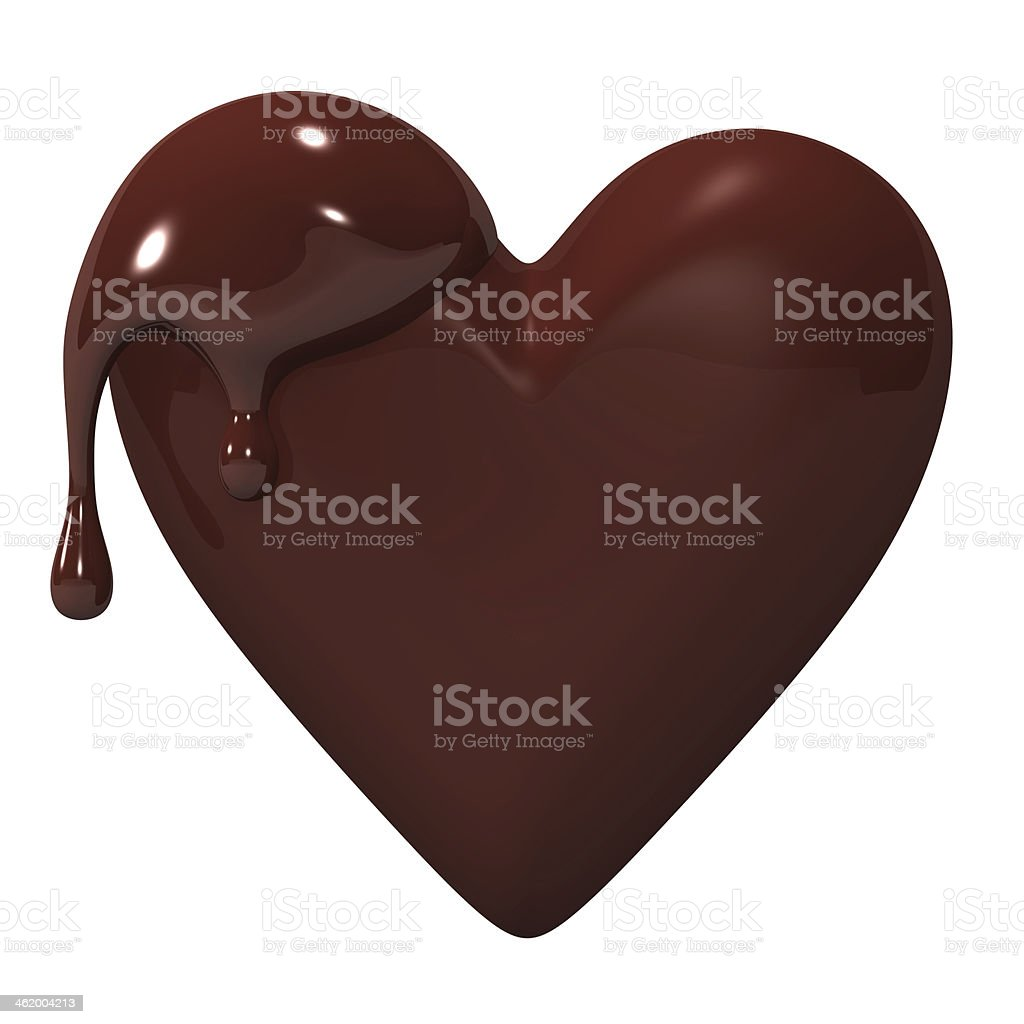 Melted Heart-shaped Chocolate stock photo
