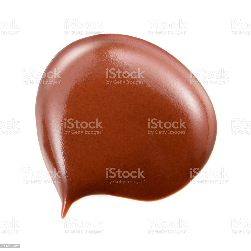 Melted hot chocolate. Drop isolated on white background. stock photo