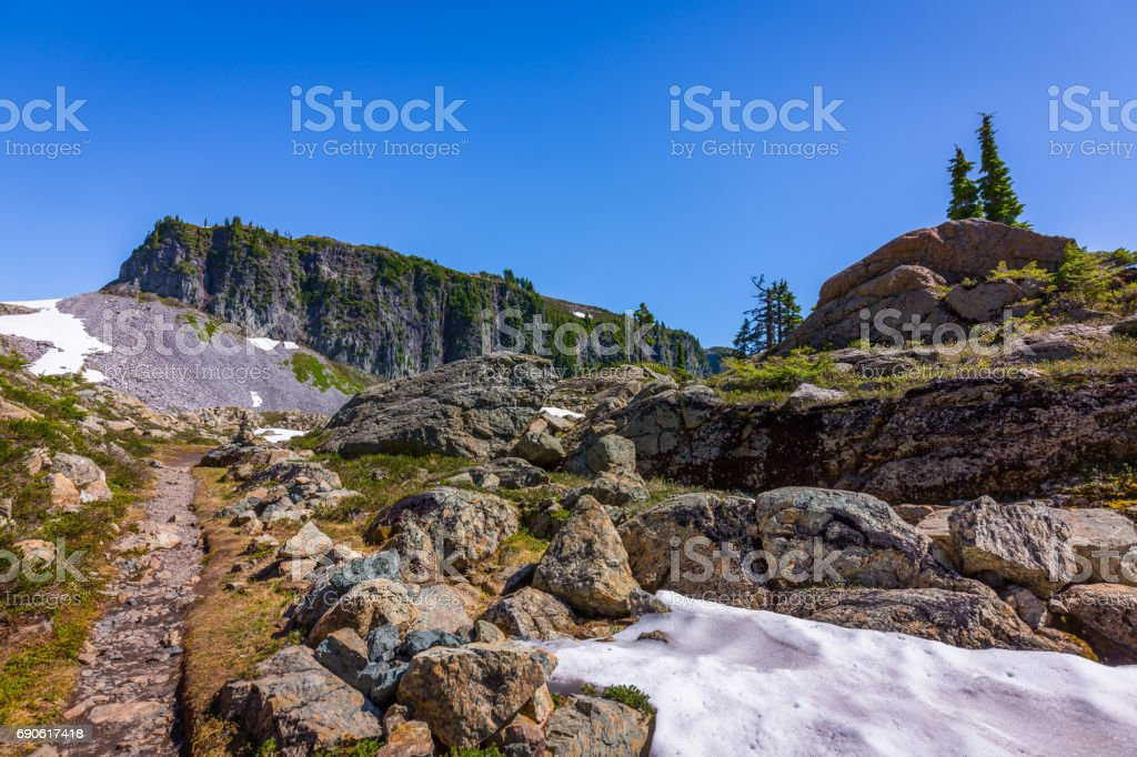 Melted snow in the mountains. stock photo