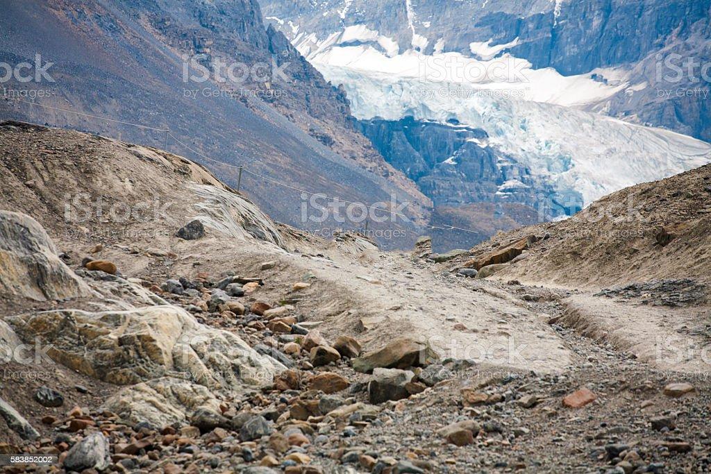Melting Athabasca glacier stock photo