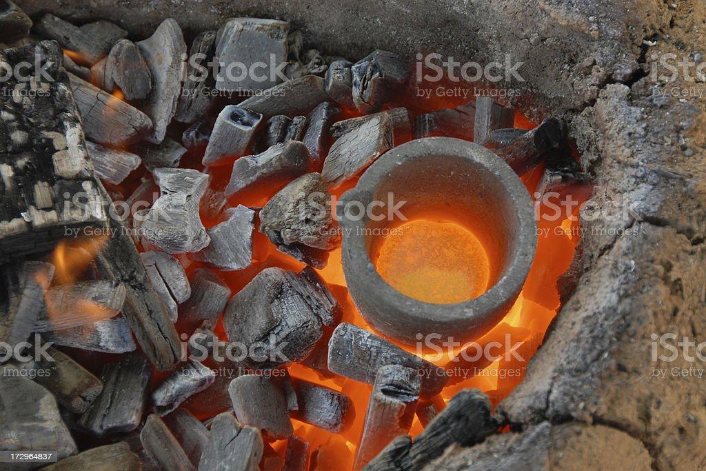 melting bronze stock photo