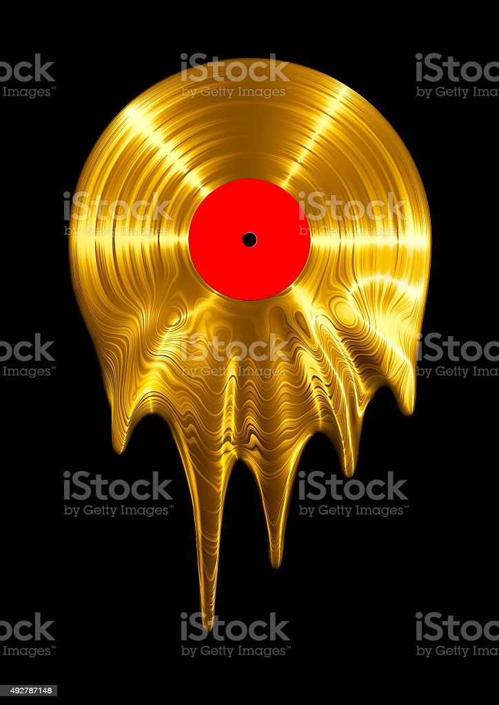 Melting gold vinyl record stock photo