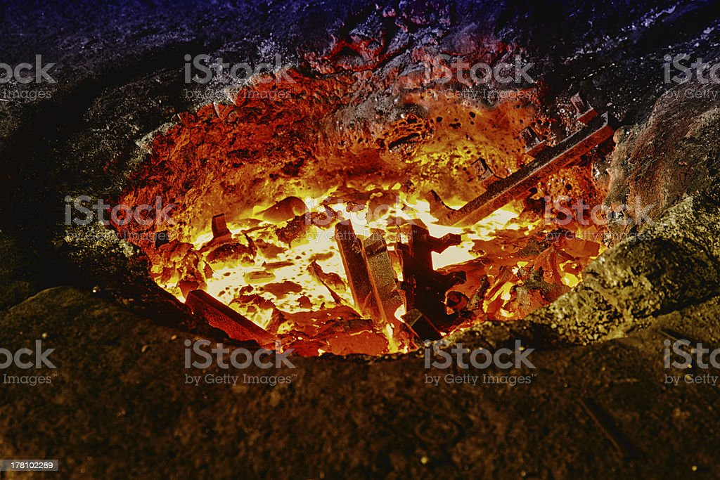 Melting iron in a furnace stock photo