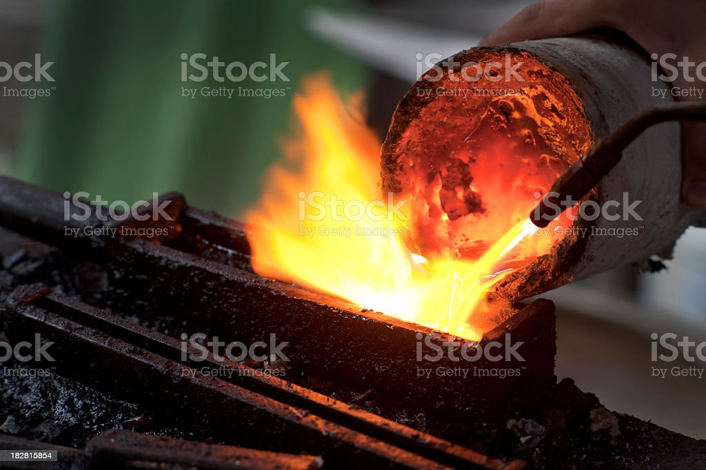 Melting Silver for Jewelry stock photo