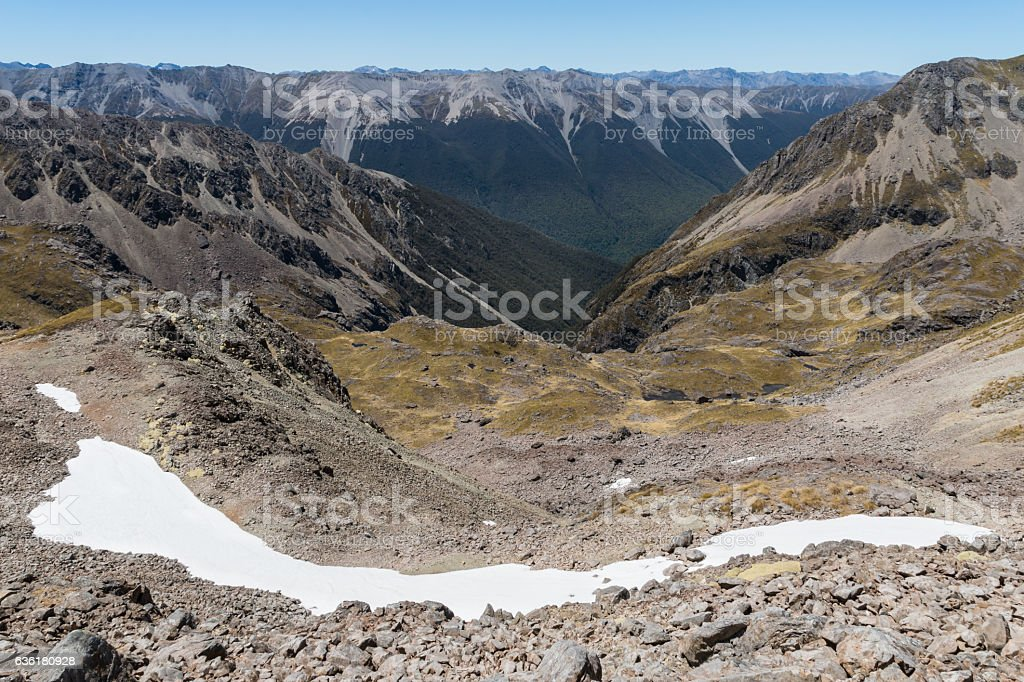 melting snow field in Nelson Lakes National Park stock photo