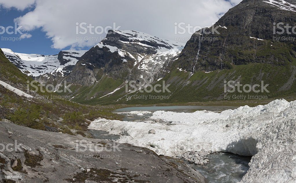 Melting snow of an winter avalanche in Jostedalsbreen national p royalty-free stock photo