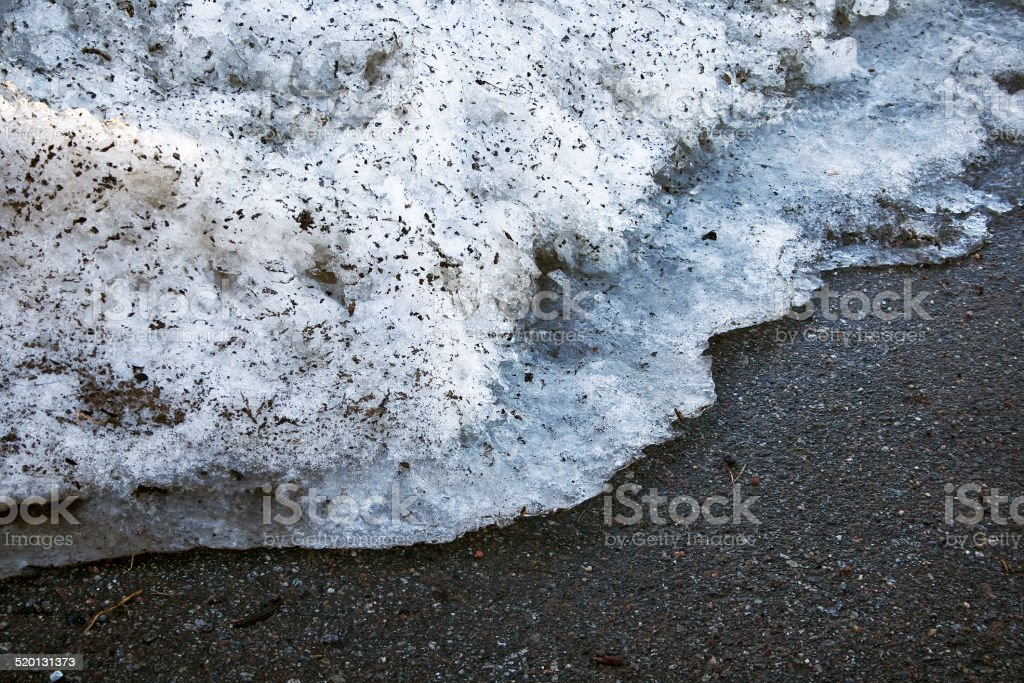 Melting snow on the road stock photo