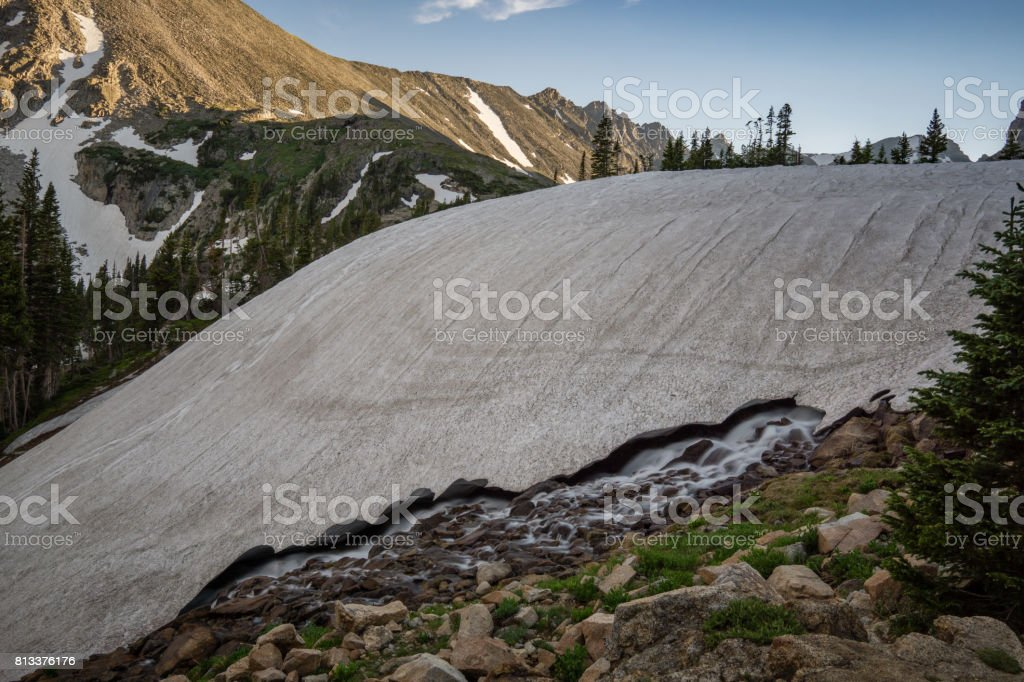 Melting Snow Uncovers Waterfall stock photo